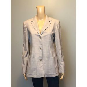 OSCAR Oscar de la renta grey wool 3 button blazer